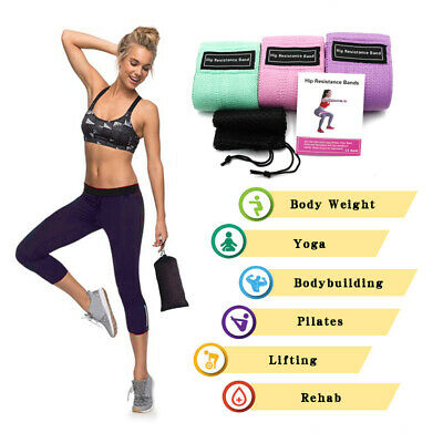 Resistance Bands Booty Fabric Glutes 3 Hip Circle Legs Squat Yoga Non Slip UK