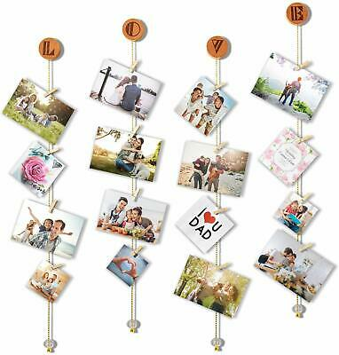 Hanging Photo Display Wood Stars Garland with Chains Picture Frame Collage R9W9