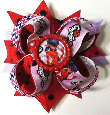 Lady Bug Cartoon Stacked Boutique Hair Bow-Girls Hair Accessories- Handmade