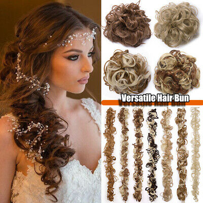 Large Thick Messy Bun Hairpiece Scrunchie Curly Long Hair Wrap on Updo Extension
