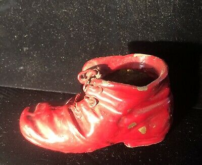 Antique Metal Hobo Red Shoe Planter Vintage Collectible Boot Figure