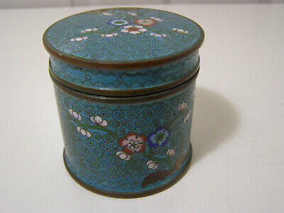 """Old Chinese Cloisonne on copper Rnd Box w/lid 3.25"""" Tall w/ branches & Flowers"""