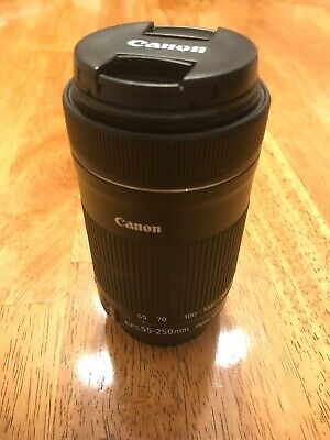 Canon Zoom Lens Ef-S 55-250Mm F/4-5.6 Is Stm With Both Caps