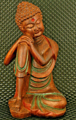 old Chinese hand caved wood blessing buddha statue figure home decoration gift