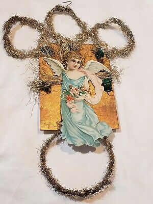 """Antique LARGE German Christmas Ornament Scrap Paper Angel with Tinsel Loops 12"""""""