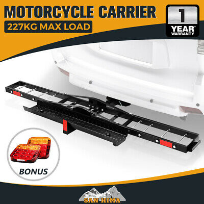 "【15% OFF】SAN HIMA Motorcycle Carrier Motorbike Rack 2"" Towbar Dirt Bike Ramp"