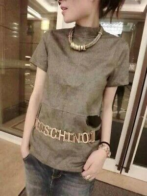 Moschino Fashion Gold Hardware Large Colorful Letter Double Chain Link Belt