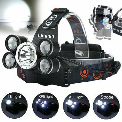 5 x CREE XML T6 LED Headlamp Head Torch Light Flashlight Rechargeable Lamp AU