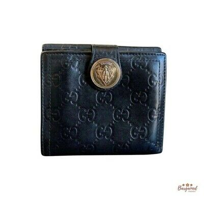 Authentic Gucci GG Black Guccissima Leather Hysteria French Bifold Wallet 190349