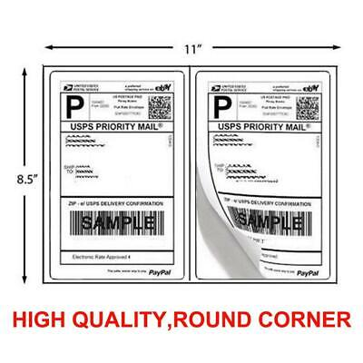 200 Shipping Labels 8.5 x 5.5 Half Sheets Blank Self Adhesive 2 Label Per Sheet
