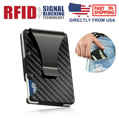Business RFID Blocking Men's Carbon Fiber Money Clip Wallet Credit Card Holder