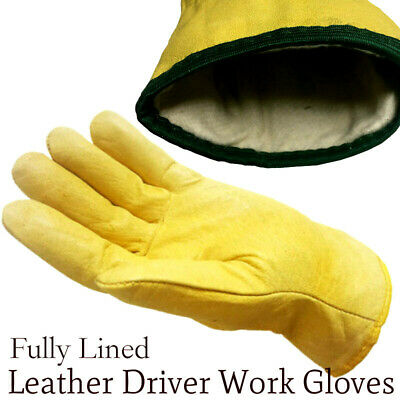 Driver Work Gloves Fleece Cotton Lined Soft Leather Lorry Drivers Safety Glove