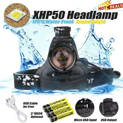 990000LM XHP70 LED Headlamp Zoom USB Rechargeable 18650 Headlight Super Bright.'