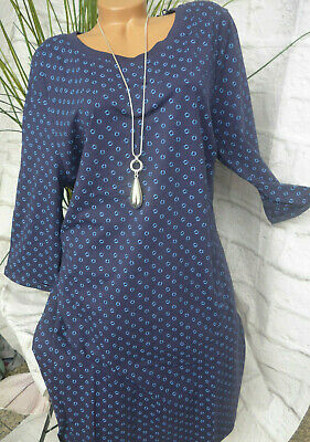 754 46 bis 50 Blau Punkte 358 Sheego Kleid Shirtkleid Sweatkleid Gr