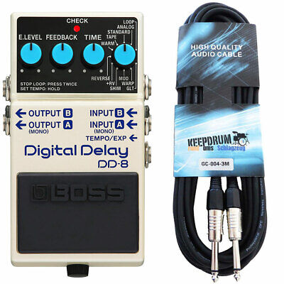 Boss DD-8 Digital Delay Effektgerät + keepdrum Gitarrenkabel 3m