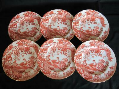 Royal Crown Derby Red Aves A74 pattern 6 x Salad or Dessert Plates 8.5 inches