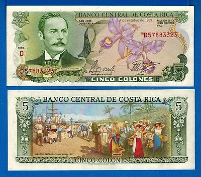 Costa Rica P-236d 5 Colones Year 1989 Uncirculated Banknote