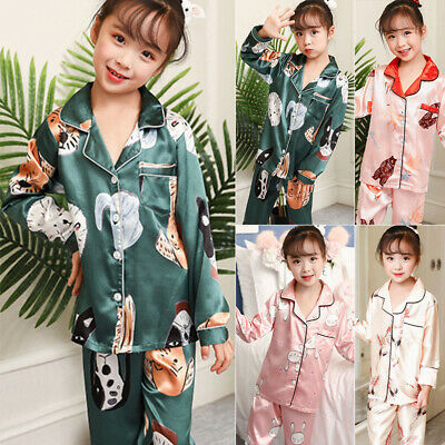 Girl Kids 2pcs/Set Nightwear Sleepwear Loose Pjamas Animal Printed Home Clothing