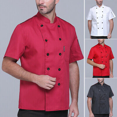 Male T-shirt Tops T-shirt Vest Casual Short Sleeve Chefs Stand Collar Tops Cook
