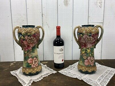 Victorian Pair Of Hand Painted Flower Decor Vases c1900's