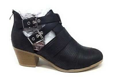 Brinley Co Womens TIFF Double Strap Ankle Boots Black Size 8.5 M US