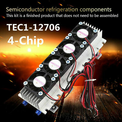 12V 4 Chip TEC1-12706 Thermoelectric Peltier Air Radiator Refrigeration Cooler S
