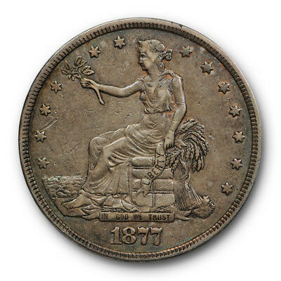 1877 $1 Trade Dollar Extra Fine XF Original US Type Coin #RP145
