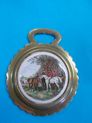 Antique Horse Brass With Ceramic Center - Horses/Dogs Fox Hunt Hang On Wall # 63