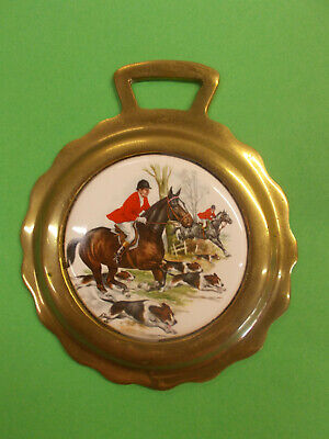 ANTIQUE HORSE BRASS WITH CERAMIC CENTER - HORSES/DOGS FOX HUNT 142 x 120 mm # 65