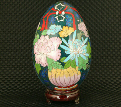 Fine Chinese rare old cloisonne Handcarved chrysanthemum egg table decoration