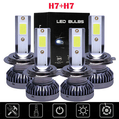 Super Mini H7 + H7 Combo LED Headlight Bulbs High Low Beam 440W 52000LM 6000K #C