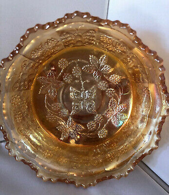 """IMPERIAL MARIGOLD CARNIVAL GLASS Butterfly WHIMSEY BOWL 3 Feet Berry Plants 5"""""""
