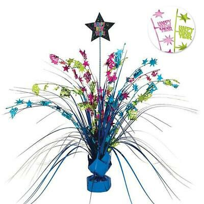 Job Lot/Wholesale 6 x Multi Coloured Happy New Year Weighted Spray Centrepieces