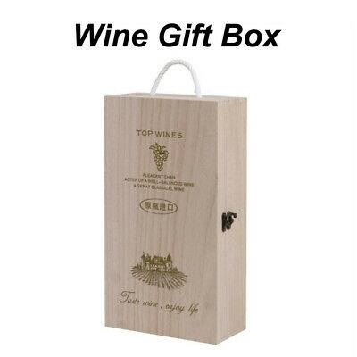 Wooden Wine Box Double Bottle Strap Crates Shell Gift Home Decoration