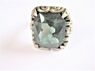 Antique Ring Silver 835 with Green Stone, 5,89 G