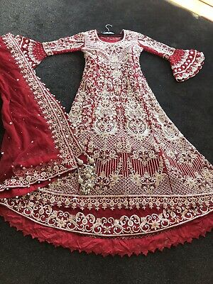 Bridal Lengha Gown Dress Anarkali Indian Asian Pakistani Salwar Kameez Suit Red