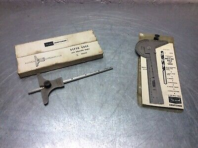 Sears Craftsman Vintage Depth Gage & Multi-use Angle & Rule 40 442 9-4026