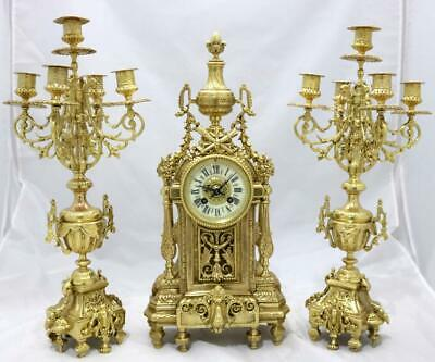 Stunning Antique French 19th C Gilt Pierced Bronze Mantle Clock Garniture Set