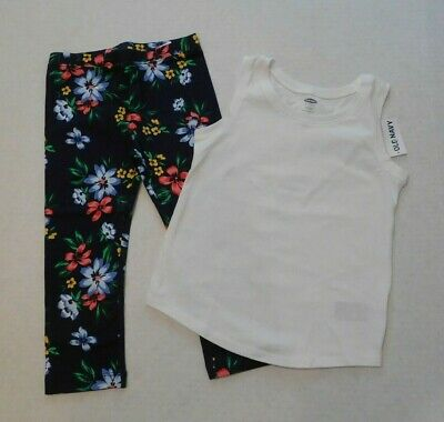 NWT Girls Old Navy Top & Blue Floral Capri Leggings Outfit sz 5t