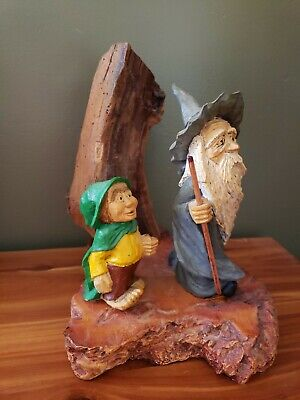Vintage Steve Tunturi Hand Carved Wizard Scene Whittler Workshop Oregon ---RARE