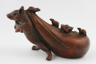 19th Century Chinese Boxwood Hand Craved Rat Group Ornament  12x7x5cm