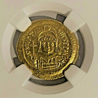 BYZANTINE: Justinian I, AV Solidus, 4.39g, AD 527-567, NGC Mint State 4/5, 4/5