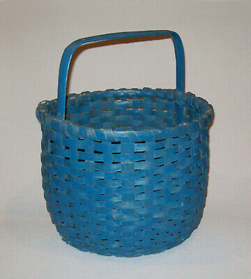 Antique Vtg Late 19th C 1890s Hand Woven Round Oak Splint Basket Old Blue Paint