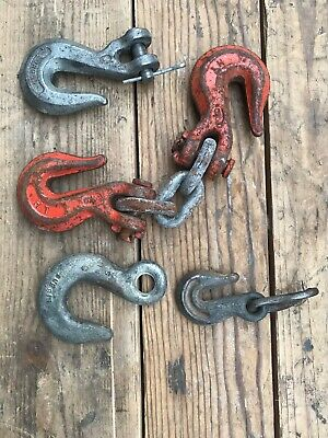 Lot Vintage Log Chain Hooks Durbin Others Industrial Steampunk Tow