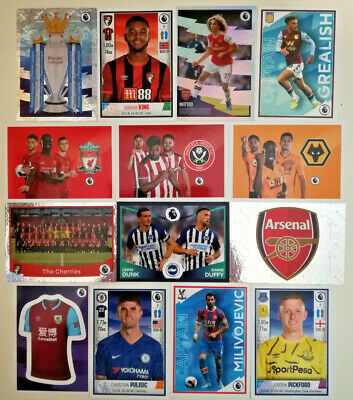 Panini Football 2020 Premier League Sticker Collection #1-250 A to E teams
