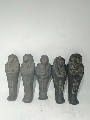 RARE ANTIQUE ANCIENT EGYPTIAN 5 Ushabti Work as Sevant Minions 1620 Bc