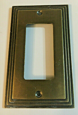 Vintage AmerTac Antique brass toned metal Toggle Switch Plate Cover