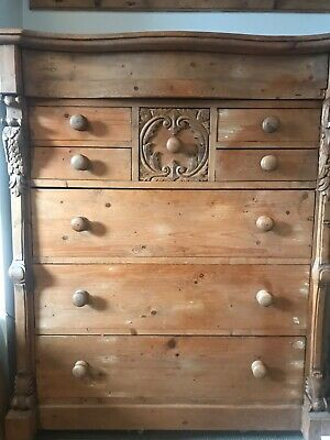 Large Antique Hand carved Pine Dutch Chest of Drawers