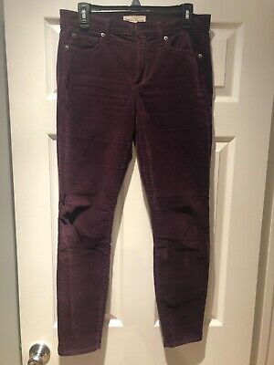 Gap True Skinny Womens Corduroy Pants Maroon Size 30 Preowned