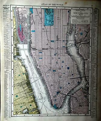1914 Southern New York City Atlas map* Brooklyn map on back.106 years-old